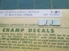 """HO Scale Pennsylvania 16"""" White and Black w/Shadow Herald Decals by Champ"""