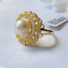 Pearl & Simulated Diamond Gold Tone Brass Ring Size R