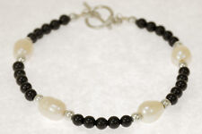 """Sterling Silver Akoya Pearl & Black Onyx 7 3/4"""" Bracelet With Bar/Ring Clasp"""
