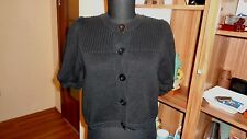 SEE BY CHLOE KNITTED BLACK CROPPED BUTTON FRONT SHORT SLEEVED CARDIGAN-M,12-UK