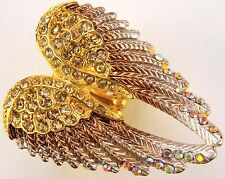 Angel Wings Stretch Ring Crystal Rhinestone Fashion Bling Jewelry Gold RD01
