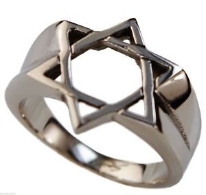 Star of David mens ring 316L stainless steel size 9 T82a