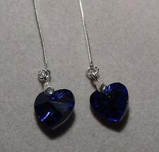 Crystal Heart - 925 Sterling Silver Box chain Threader earrings *4 colours*