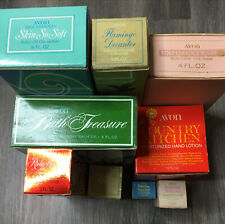 Lot Of 9 Vtg Avon Decanters Bottles With Boxes Empty Cologne Skin So Soft Ect