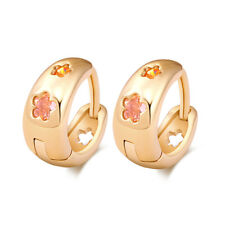 Fashion child gils flower gold plated crystal womens Safety small hoop earrings