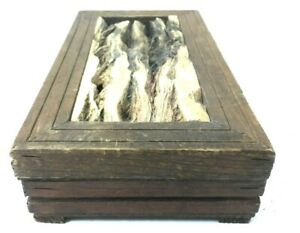 Curious Handmade Vintage Wooden Box Mexico Raw Knotted Wood Inset Creepy