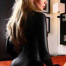Women's Sexy Wet Look PVC Leather Club Catsuit Jumpsuit Slim Playsuit S M L 2XL