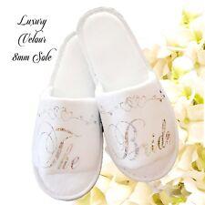 Bride Bridal Bridesmaid Hen Wedding Slippers Sparkling Silver & Heart Scroll