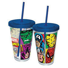 Marvel Comics Grid Blue Acrylic 16 oz. Travel Cup NEW Travel Mug Comics