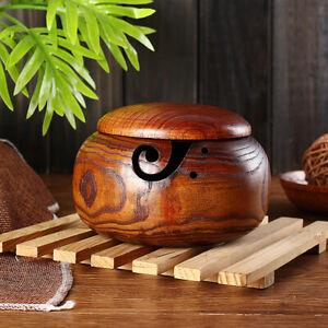 16cm Wooden Yarn Bowl Holder Storage with Lid Cover Knitting Yarn Ball Storage