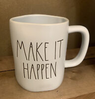Rae Dunn - MAKE IT HAPPEN - LL Blue Ceramic Coffee Mug