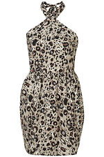New TOPSHOP halter dress UK 8 in Multi/Leopard print