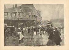 Market Street In Berlin, Victorian Era Scene, Vintage 1894 German Antique Print