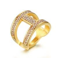 18K Gold Plated Hollow CZ Stone Female Rings Stainless Steel Womens Wedding Ring