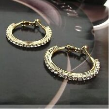 Gold Tone 1 Row Diamonte / Diamante Hoop Earrings - BRAND NEW!!