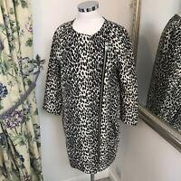 Mint velvet Size 10 black white animal print long coat jacket zip up light vgc