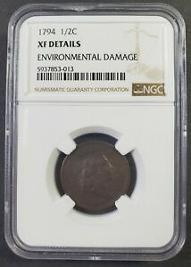 1794 Liberty Cap Half Cent NGC XF Details ENV. DMG.