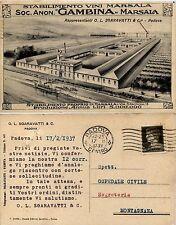 Marsala, trapani, illustrazione stabilimento vini marsala S.A. Gambina, 1937