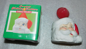 Porcelain Holiday Hatters Candle Holder Christmas Santa Claus Hand Painted 4 in