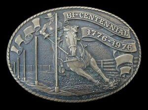 VINTAGE 1976 TONY LAMA BICENTENNIAL RODEO BELT BUCKLE SOLID BRASS LTD. #1705