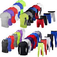 Men Base Layer Shirt Top Pants Compression Vest Tight Sport Fitness Gym Shorts