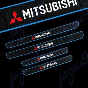 Blue/Black Rubber Car Door Scuff Sill Cover Panel Step Protector For Mitsubishi