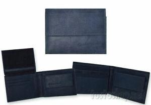 Sergio Tacchini Portafoglio Uomo In Vera Pelle Blu Porta Monete Carte di Credito