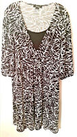 Style & Company Women's Dress Black White 3/4 Sleeve Stretchy Plus Size 2X NWOT