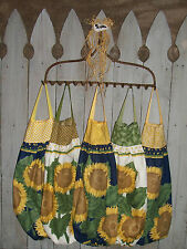 3 Large Yellow Sunflowers Plastic Grocery Bag Rag Sock Holder Organizer Handmade