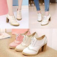 Retro Women Brogues Lace Up High Block Heel Court Wingtip Pumps Shoes High Heels