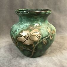 Arts and Crafts OTTO HEINTZ Sterling Silver on Bronze Vase - Pat. Aug 27 1912