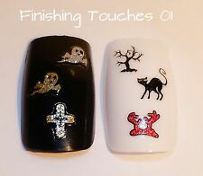 Nail Art Sticker- 3D Halloween Decal HW8 BLE926D Gold Silver Glitter Cat Ghost