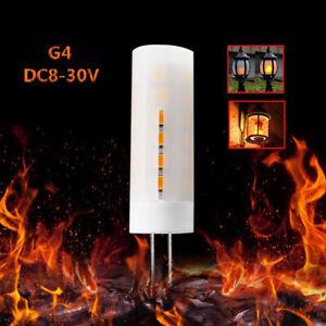(5pcs)x Flame Fire Flickering Shine Burning G4 Light Bulb 12V 24V Christmas Lamp