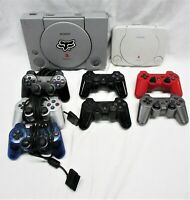 Lot of 2 PlayStation 1 Console ONLY For Parts/Repair PS1 Slim + Controllers (QW)