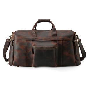 Vintage Men Leather Travel Bag Luggage Duffel Gym Bag Holdall Carry On Suitacase