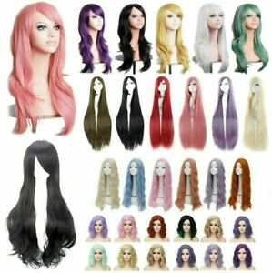 Lady Long Curly Wigs Fashion Cosplay Costume Hair Anime Full Wavy Party Wig