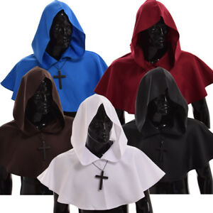 Medieval Friar Cowl Hat Party Monk Priest Pagan Cosplay Costume Hooded Cloak Hat