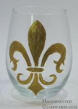 Fleur de Lis Hand Painted Wine Glass