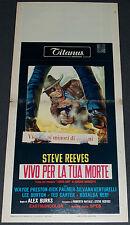 LONG RIDE FROM HELL 1968 ORIG. 13x28 ITALIAN MOVIE POSTER! STEVE REEVES WESTERN!