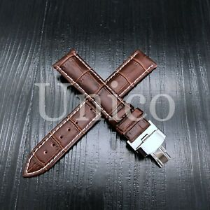 12-24 MM Watch Band Strap Genuine Leather Alligator Deployment Clasp Colorful US