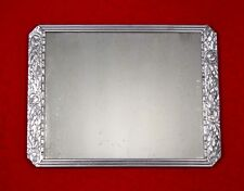 """Vintage French Art Deco Mirror, Roses, Silvered Wood Frame, 20"""" x 15"""""""