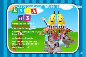 Personalised Bananas in Pyjamas Printable Birthday Party Invite Invitation card
