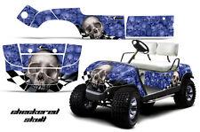 Yamaha Golf Cart Graphic Kit Wrap Parts AMR Racing Decal 1995-2006 CHK SKULL BLU