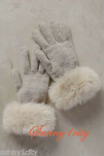 NEW Anthropologie Faux-Fur Cuff Gloves ONE SIZE Adorable cuffs Made in Italy