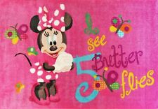 Kids girls Rug 133x200cm Disney Minnie pink - Rubberbacking Non-slip