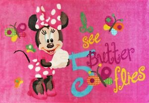 Kids girls Rug 133x200cm Disney Minnie pink - Rubberbacking Non-slip