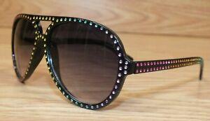 Place Black Aviator Style With Multi Color Rhinestone Trim Kid's Sunglasses