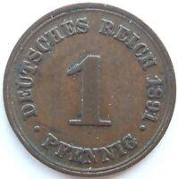 Top! 1 Pfennig 1891 F En Very fine / Extremely fine