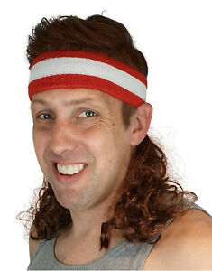 Magic Mullet Wig Attaches to ANY Headwear, Mullet Headband, 80's Wig Red & White