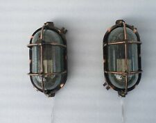 Outdoor Indoor Brass Wall Mount Lamp Industrial Lamp Japanned Finish Set of 2